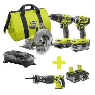 18-Volt ONE+ Lithium-Ion Cordless Brushless Combo Kit (3-Tool) w/Bonus Reciprocating Saw and (2) 4Ah Batteries