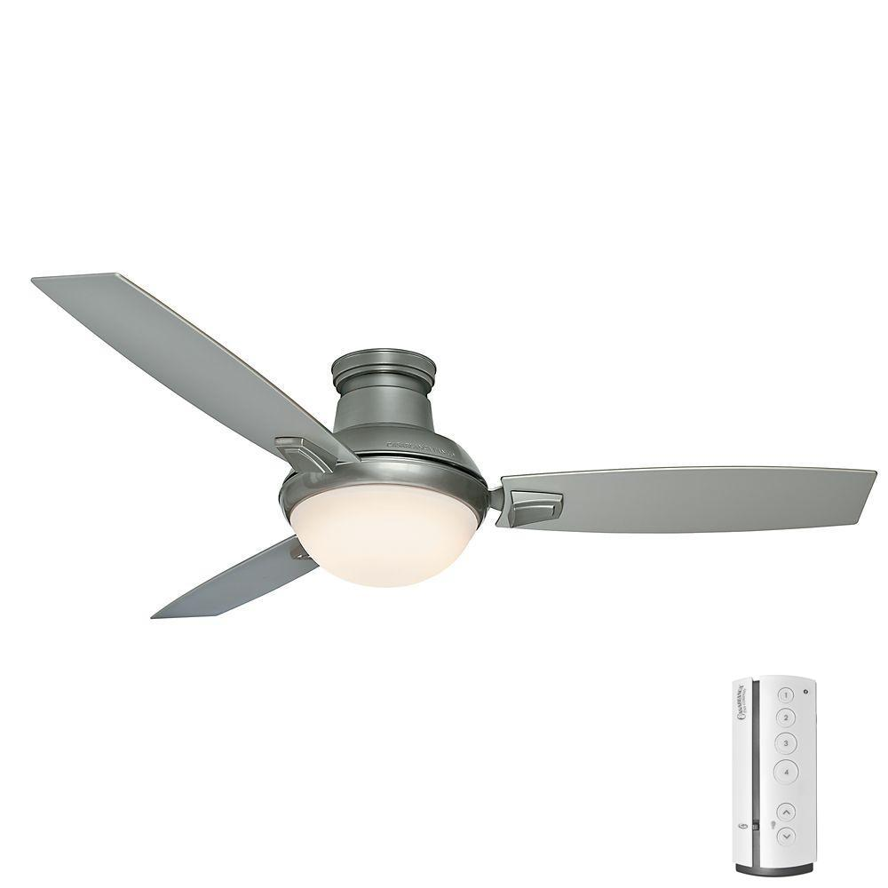 Led Indoor Outdoor Satin Nickel Ceiling Fan With Remote
