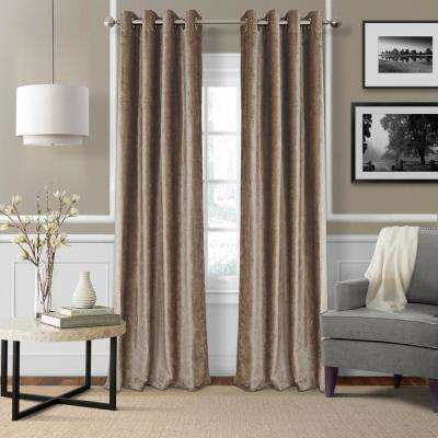 Blackout Victoria Taupe Blackout Grommet Window Curtain Panel - 52 in. W x 95 in. L