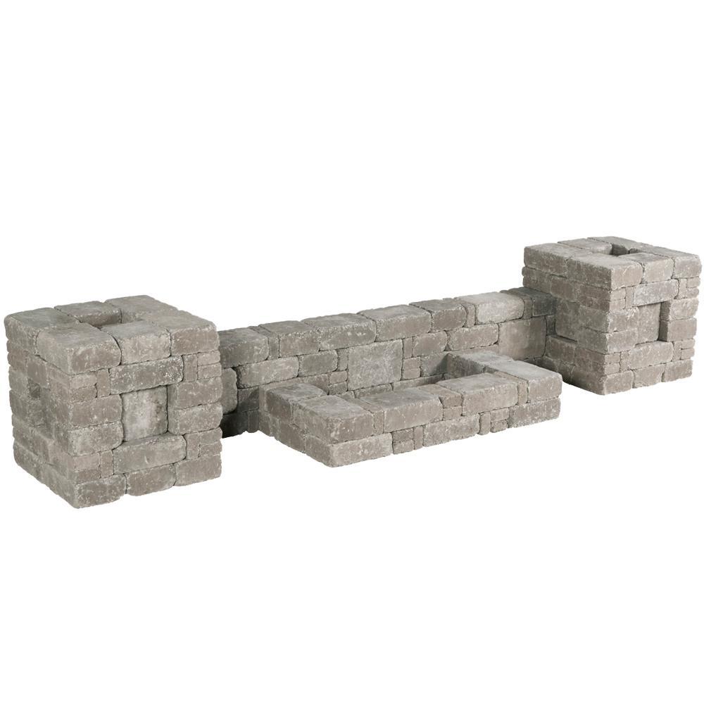 RumbleStone 112 in. x 21 in. x 24.5 in. Column/Wall Kit in Greystone