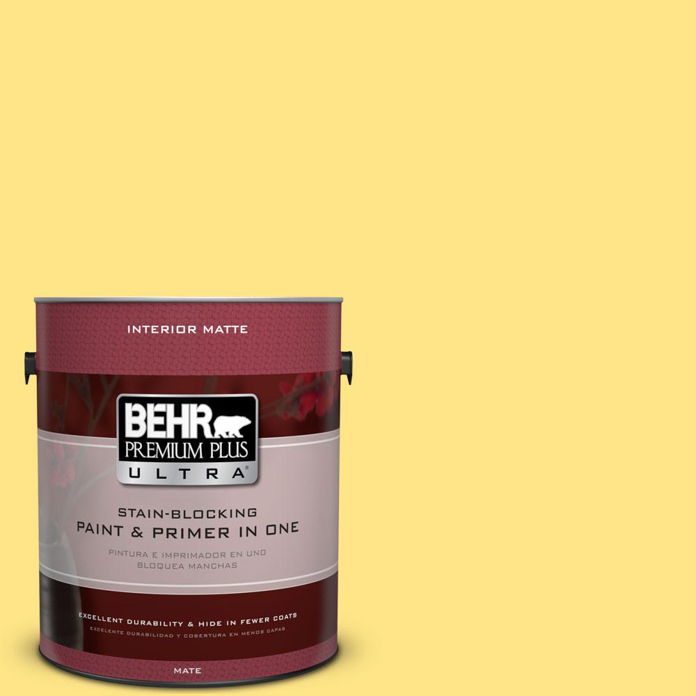 BEHR Premium Plus Ultra 1 gal. #380B-4 Daffodil Yellow Flat/Matte Interior Paint