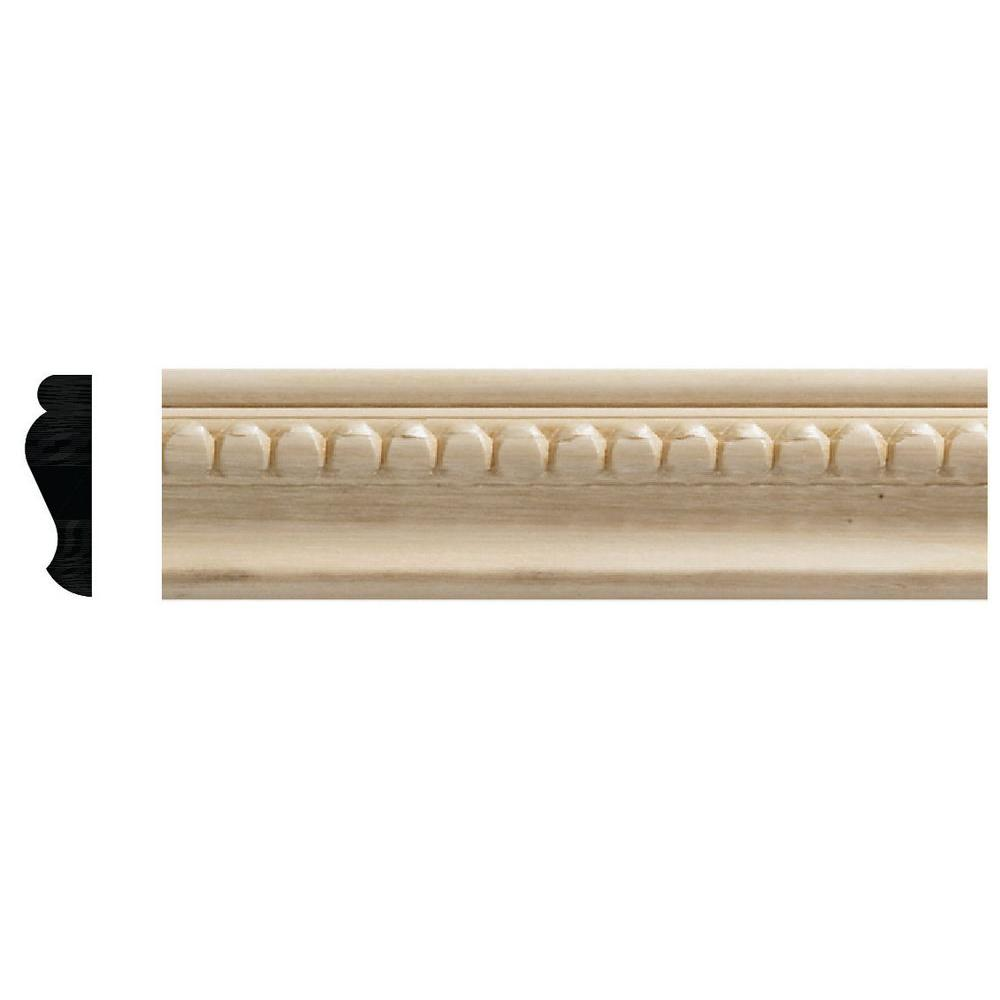 Ornamental Mouldings 1159 3/8 in  x 1-1/4 in  x 96 in  White Hardwood  Embossed Bead Trim Panel Moulding