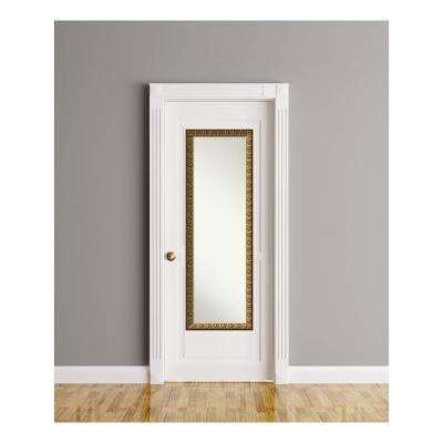 Solare Embossed Gold Wood 17 in. W x 51 in. H On The Door Mirror