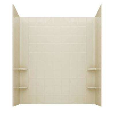 Rampart 60 in. x 60 in. 4-Piece Easy Up Adhesive Alcove Tub Surround with 6 in. Square Tiling in Biscuit