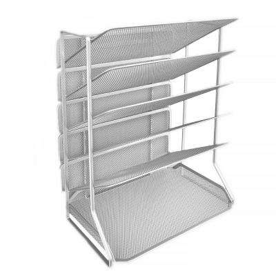 6-Tray Iron Mesh Office Vertical Desktop/Wall Mount Organizer, Letter/A4 Size