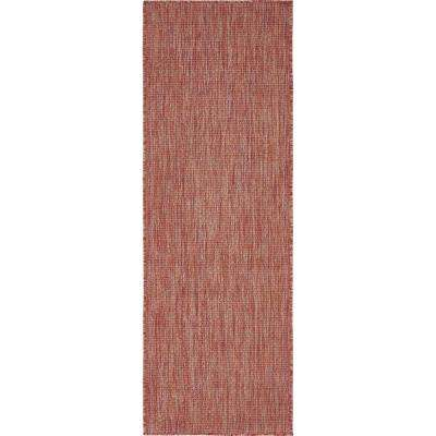 Outdoor Rust Red 2' x 6' Runner Indoor/Outdoor Rug