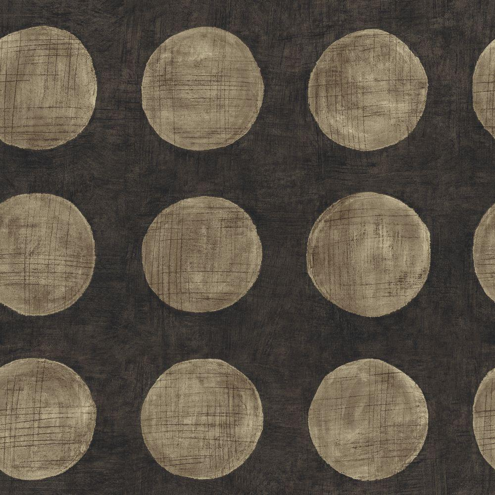 The Wallpaper Company 56 sq. ft. Taupe and Black Large Textured Polka Dot on a Textured Ground Wallpaper-DISCONTINUED
