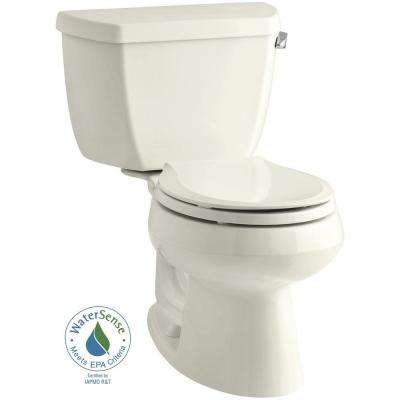 Wellworth 2-piece 1.28 GPF Single Flush Round Toilet in Biscuit