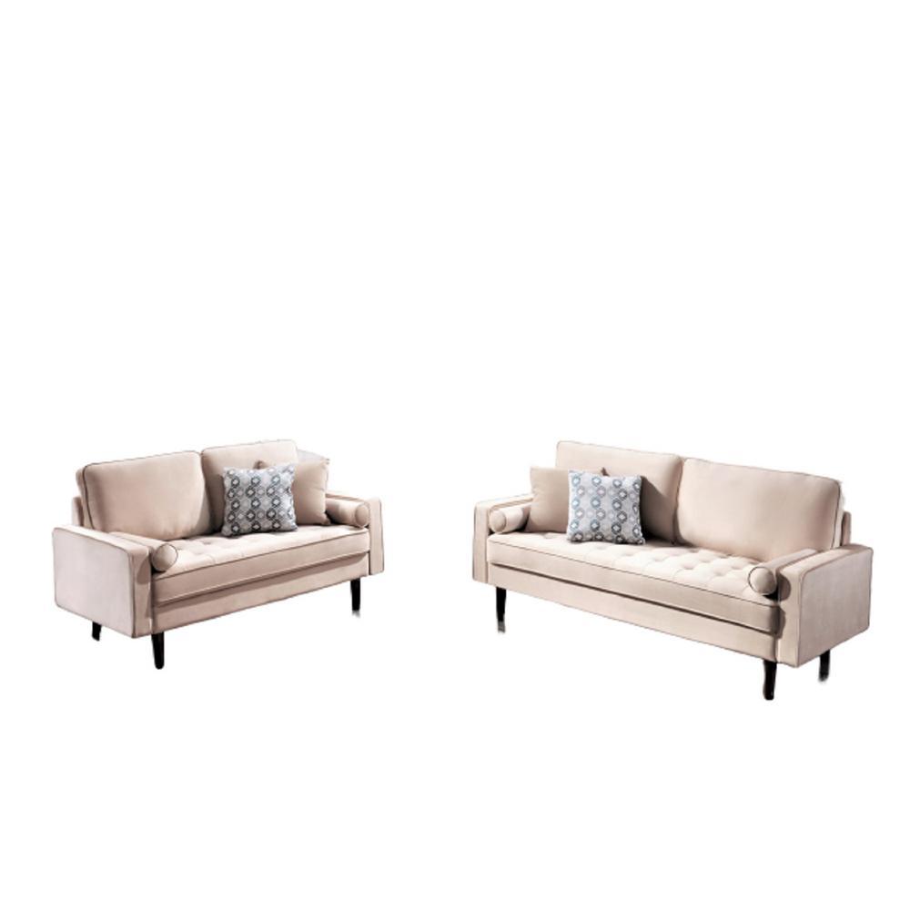 Civa velvet 2-Piece Beige Living Room Set Sofa and Loveseat