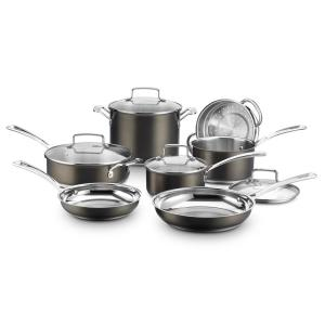 Cuisinart 11-Piece Black and Stainless Steel Cookware Set ...