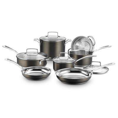 11-Piece Black and Stainless Steel Cookware Set with Lids