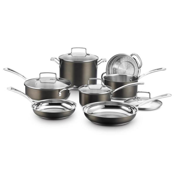 Cuisinart 11-Piece Black and Stainless Steel Cookware Set with Lids BSC7-11
