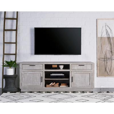 Allure 74 in. Gray Chalk Wood TV Stand with 2 Drawer Fits TVs Up to 80 in. with Storage Doors