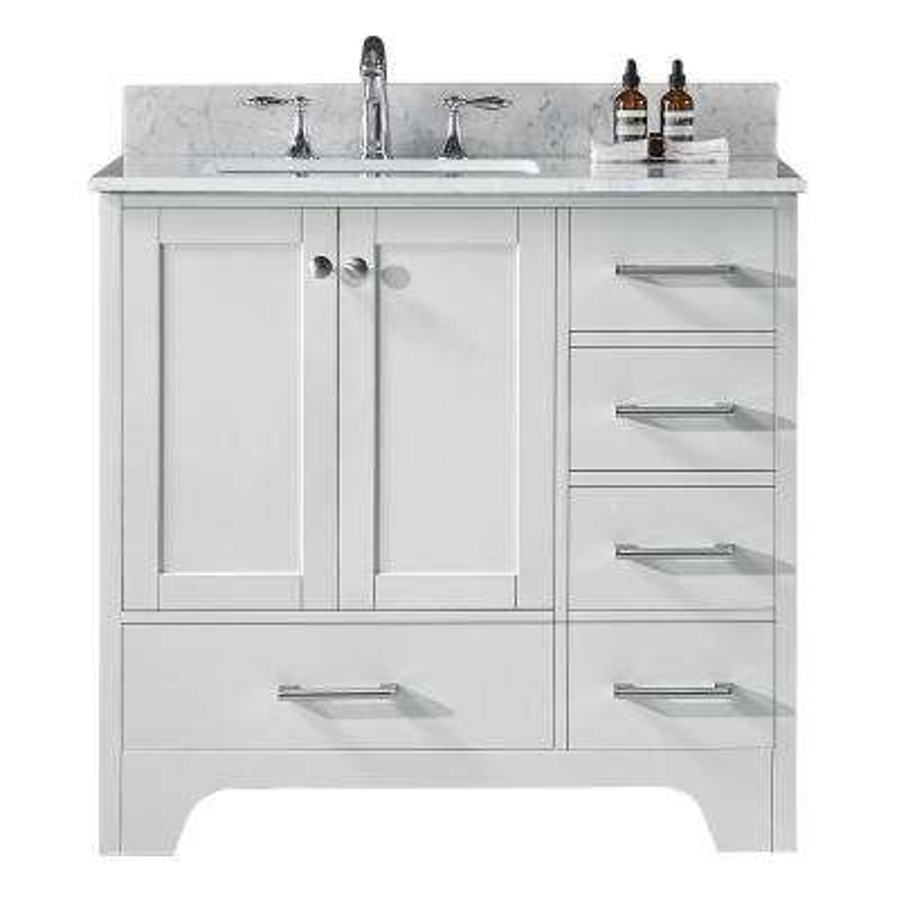 Clariette 36 in. W x 22 in. D x 34.21 in. H Bath Vanity in White with Marble Vanity Top in White with White Basin
