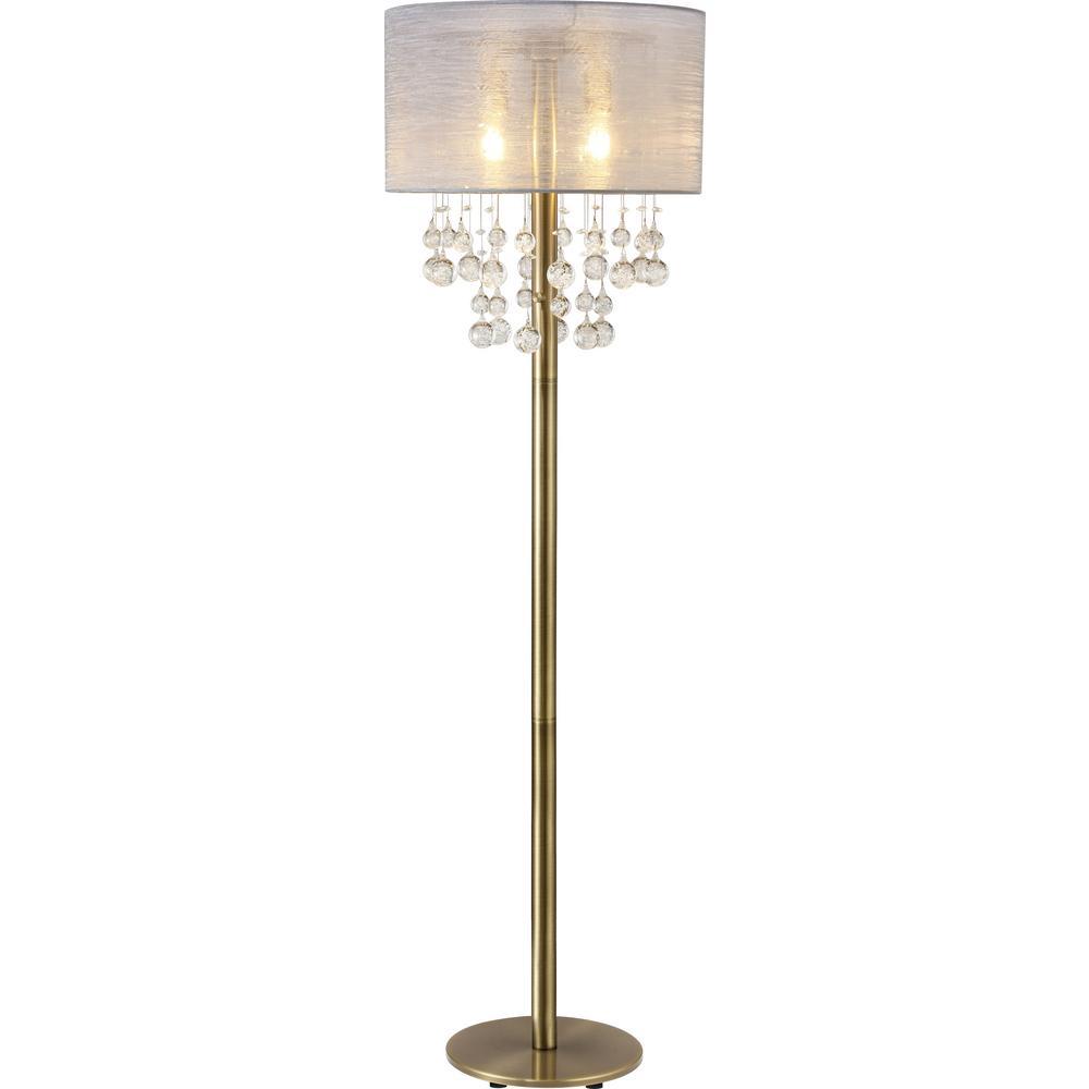 Charlotte 61 in. 2-Light LED Antique Satin Brass Floor Lamp