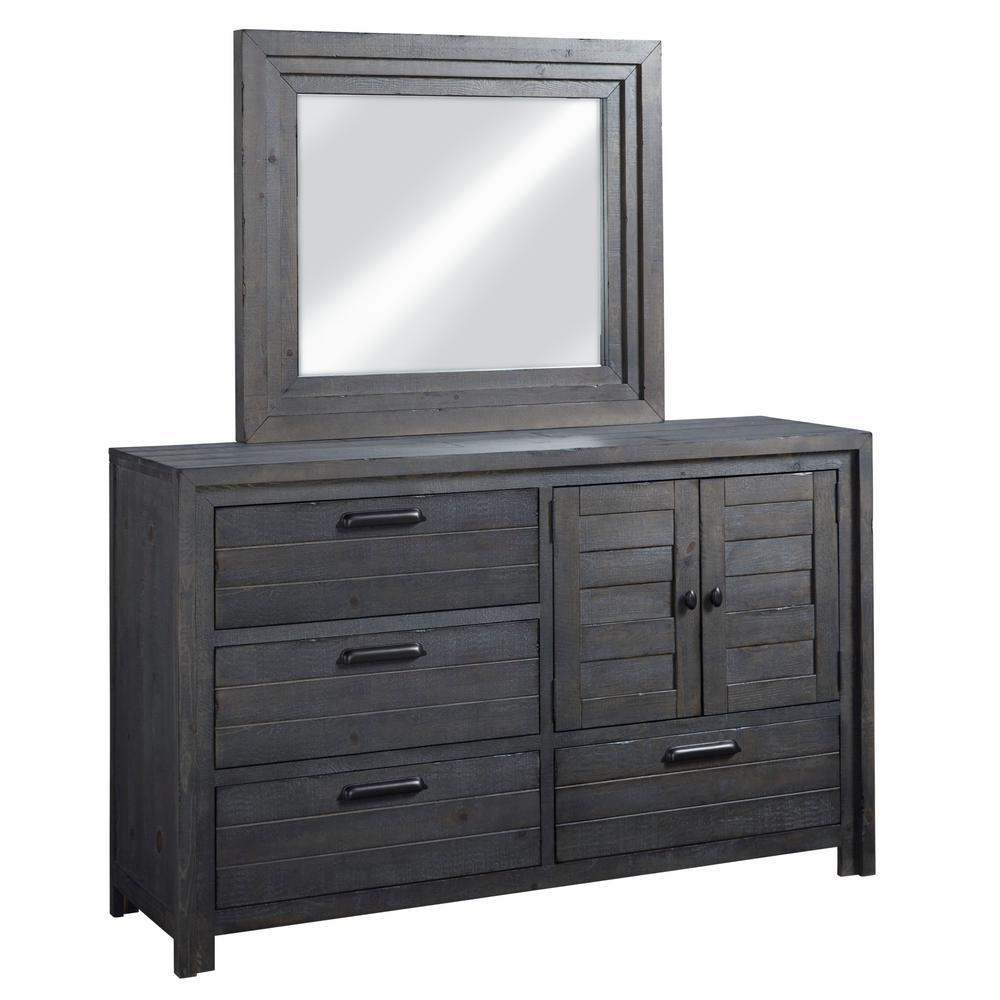 . Theory 4 Drawer Distressed Dark Gray Dresser with Mirror