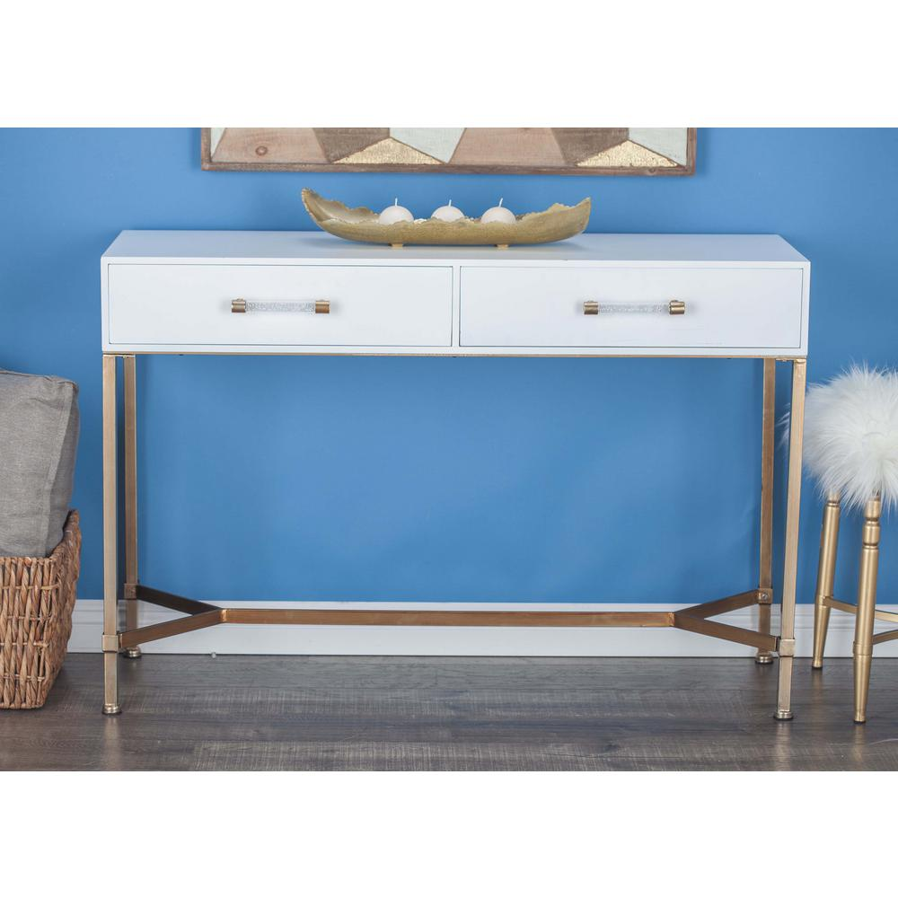 Clear reflective glass and mirror console table 79298 the home depot modern white metal wood console table geotapseo Images