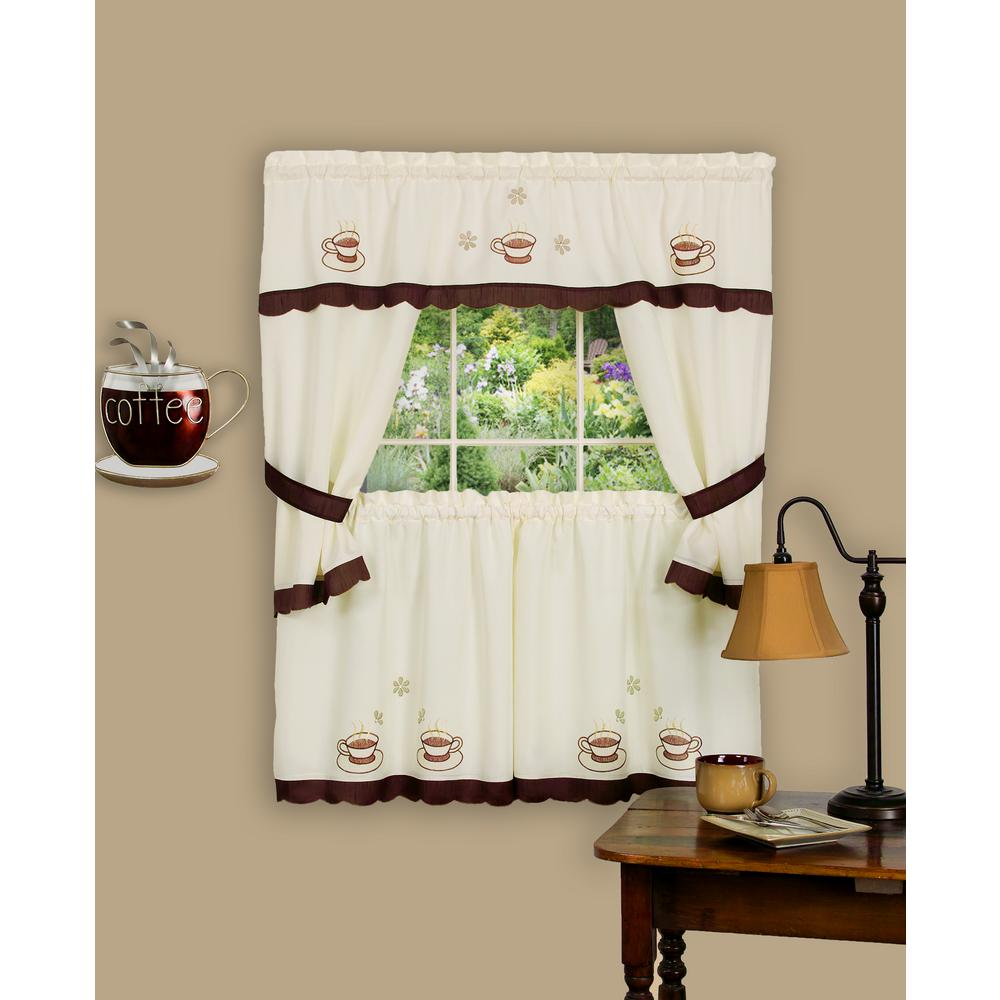 Sheer Cuppa Joe 36 in. L Embellished Cottage Window Curtain Set