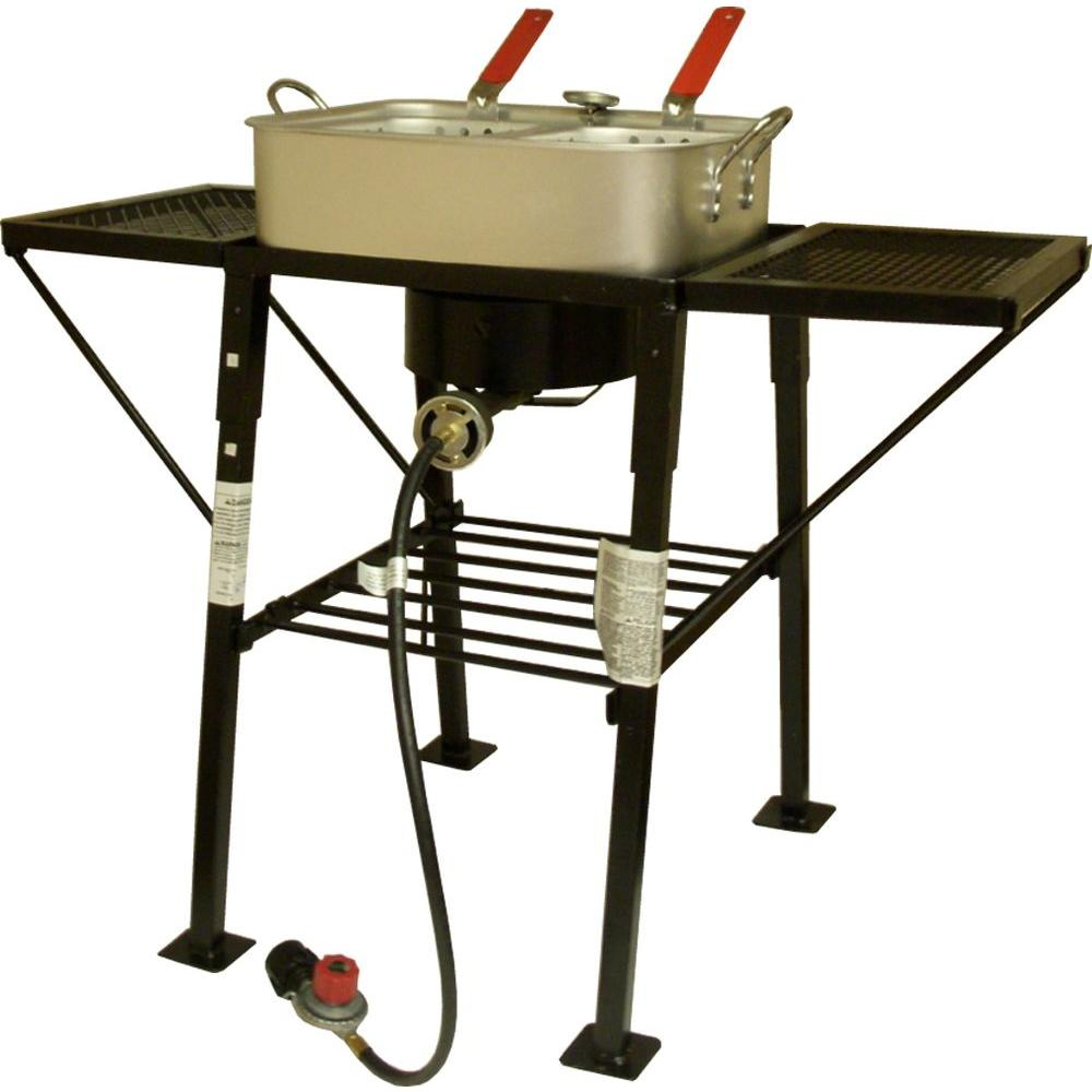 King Kooker 25 in. Rectangular Portable Propane Outdoor Cooker with Side Shelves and Rectangular Aluminum Fry Pan-DISCONTINUED