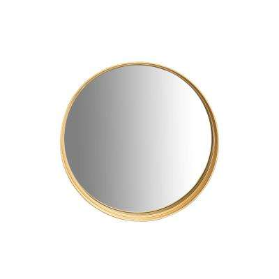 Round Gold Accent Wall Mirror with Shelf