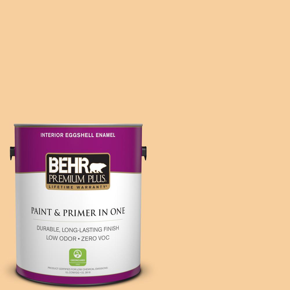 BEHR Premium Plus 1 gal. #300C-3 Bagel Eggshell Enamel Zero VOC Interior Paint and Primer in One