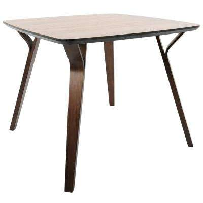 Folia Mid Century Walnut Modern Square Dining Table
