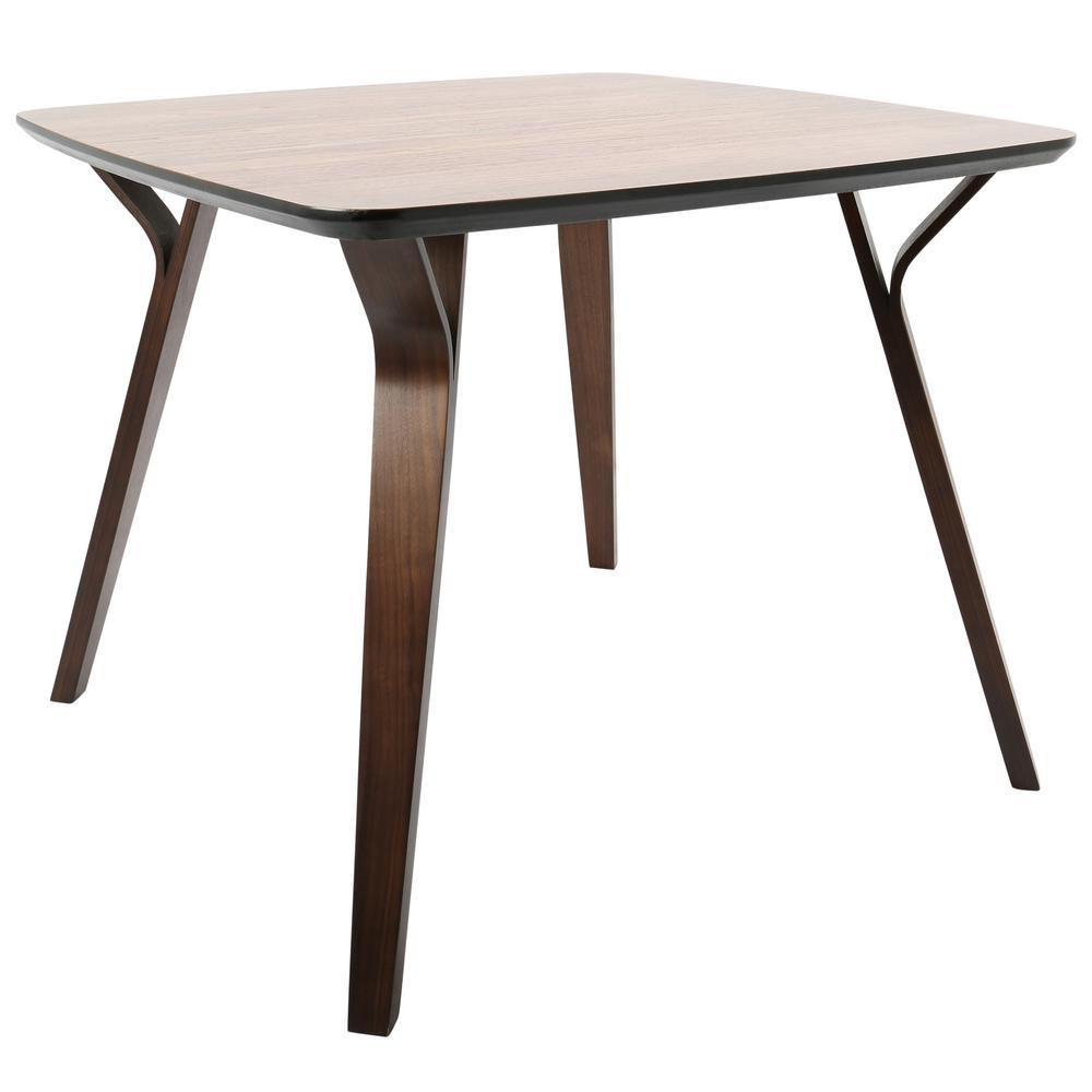 Folia Mid-Century Walnut Modern Square Dining Table