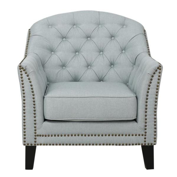 Noble House Lezandro Tufted Light Gray Fabric Club Chair with Stud