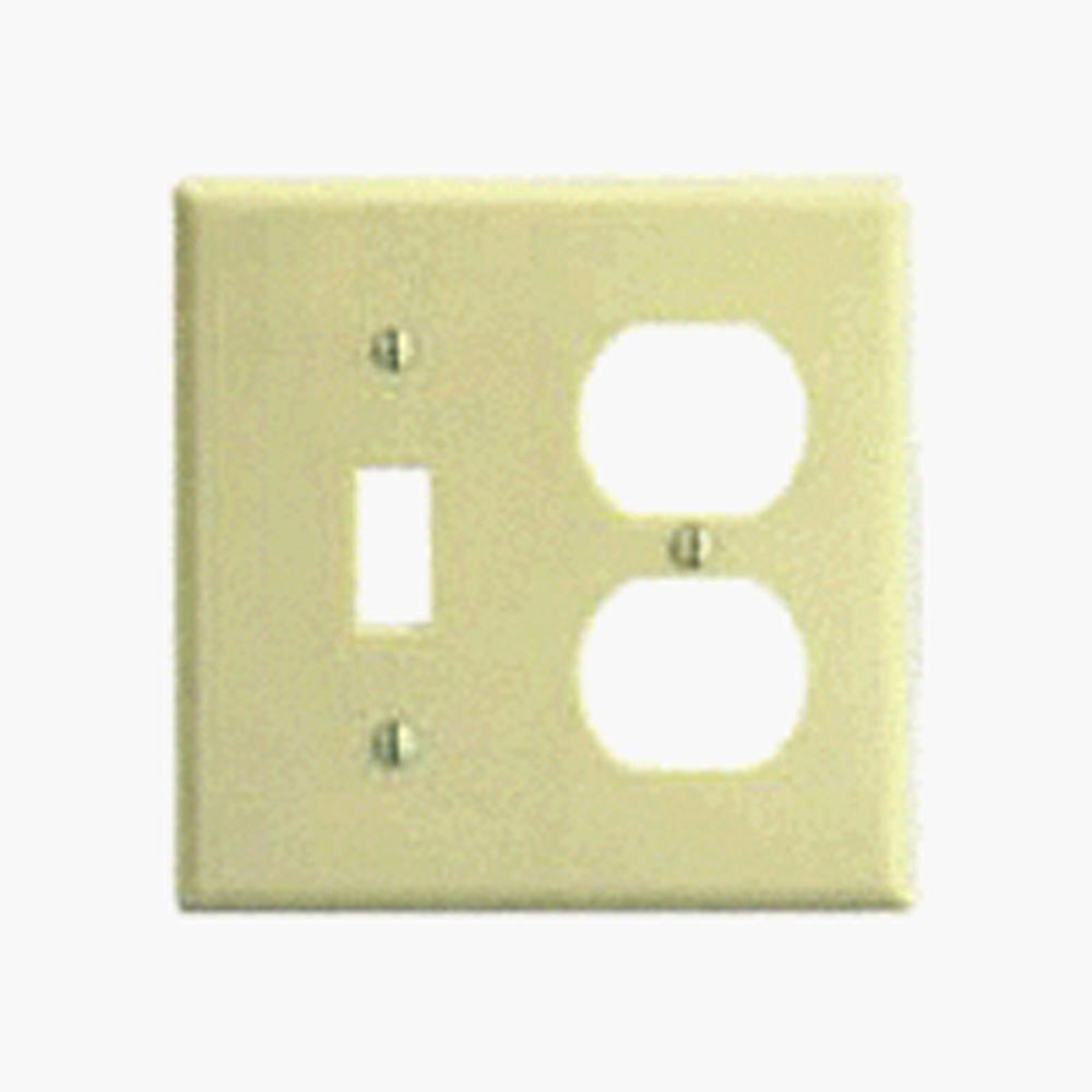 2-Gang Standard Size 1-Toggle 1-Duplex Receptacle Plastic Combination Wallplate,