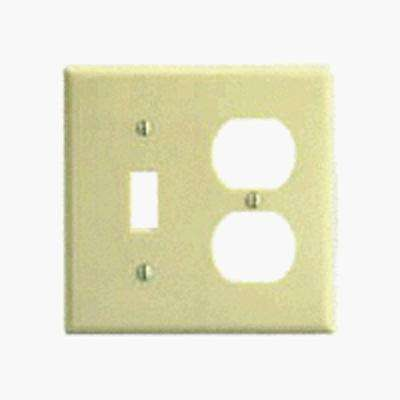 2-Gang Standard Size 1-Toggle 1-Duplex Receptacle Plastic Combination Wallplate, Brown