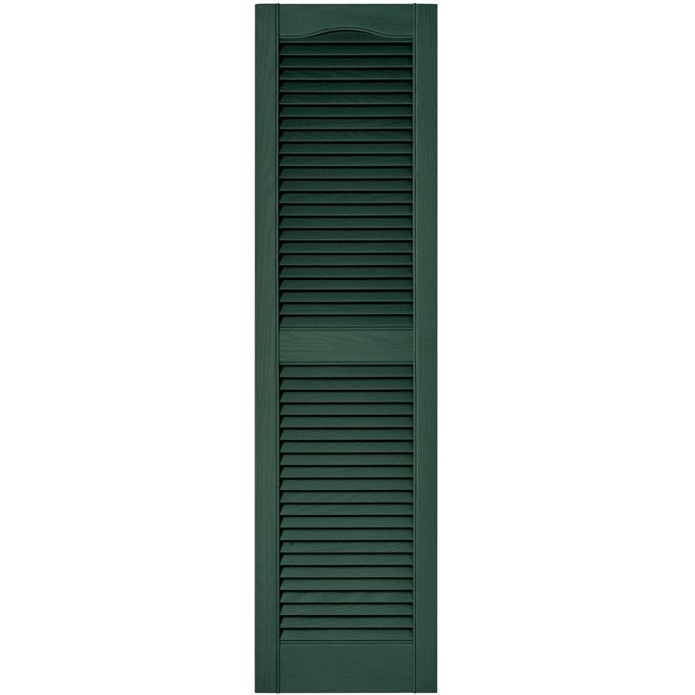 15 in. x 55 in. Louvered Vinyl Exterior Shutters Pair in