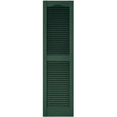 15 in. x 55 in. Louvered Vinyl Exterior Shutters Pair in #028 Forest Green