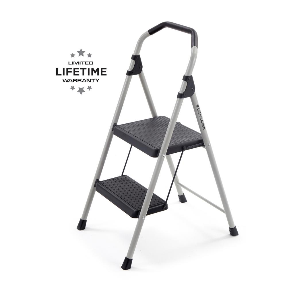 GorillaLadders Gorilla Ladders 2-Step Lightweight Steel Step Stool Ladder with 225 lbs. Load Capacity Type II Duty Rating
