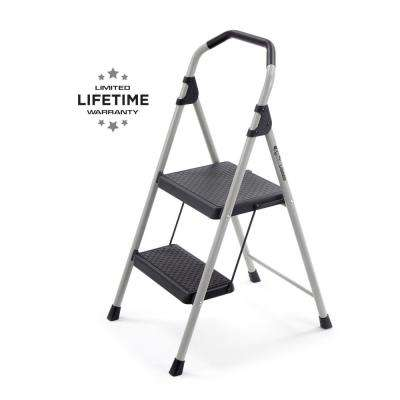 2-Step Lightweight Steel Step Stool Ladder with 225 lbs. Load Capacity Type II Duty Rating