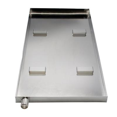 20 in. x 10 in. x 1 in. Steam Generator Drip Pan with Drain, Stainless Steel