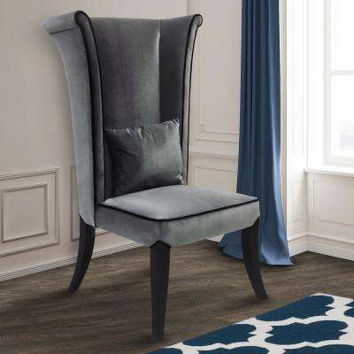 Mad Hatter 52 in. Gray Velvet and Black Wood Finish Dining Chair