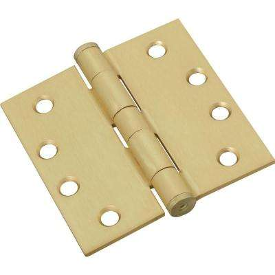 4 in. x 4 in. Satin Brass Standard Weight Hinge