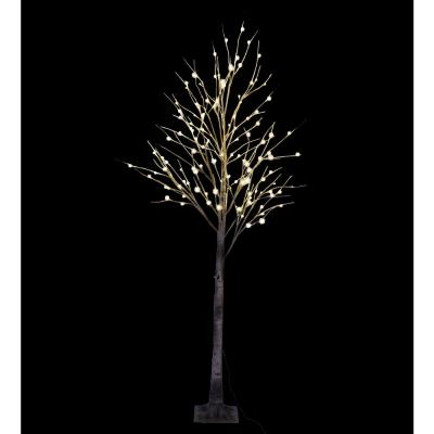 8 ft. Pre-Lit LED Birch Tree with Natural Wild and 132 Warm White LED Lights
