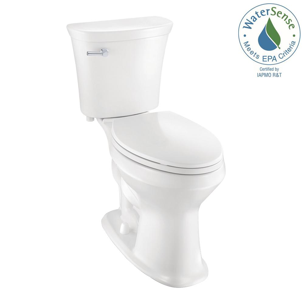 Glacier Bay 2-Piece 1.28 GPF Single Flush Elongated SuperClean Toilet in White