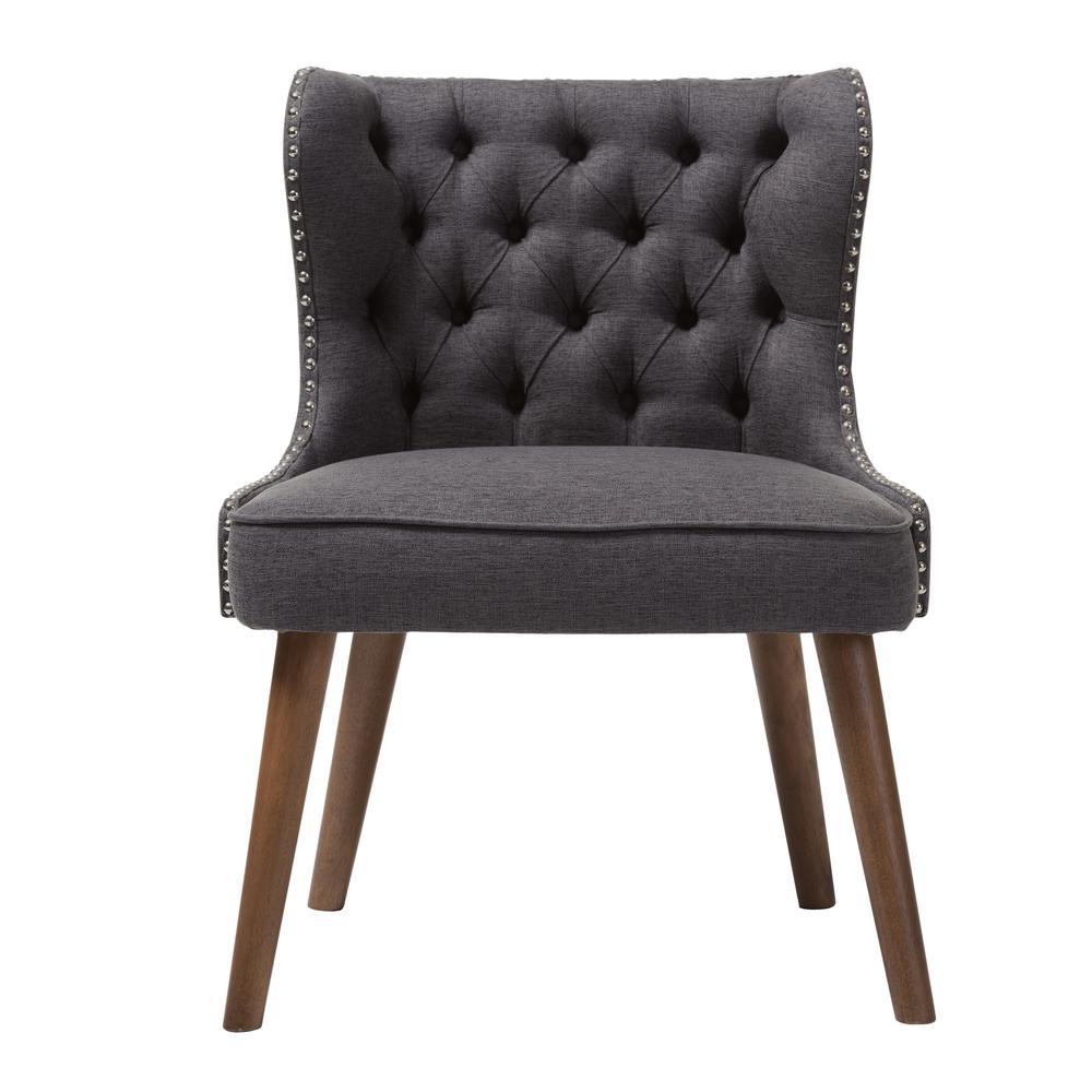 Baxton Studio Scarlett Mid-Century Gray Fabric Upholstered Accent Chair