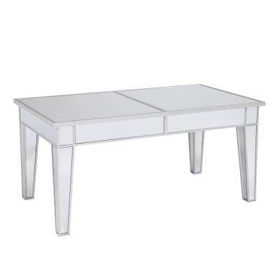 Silver and Clear Mirror Cocktail Table/Coffee Table