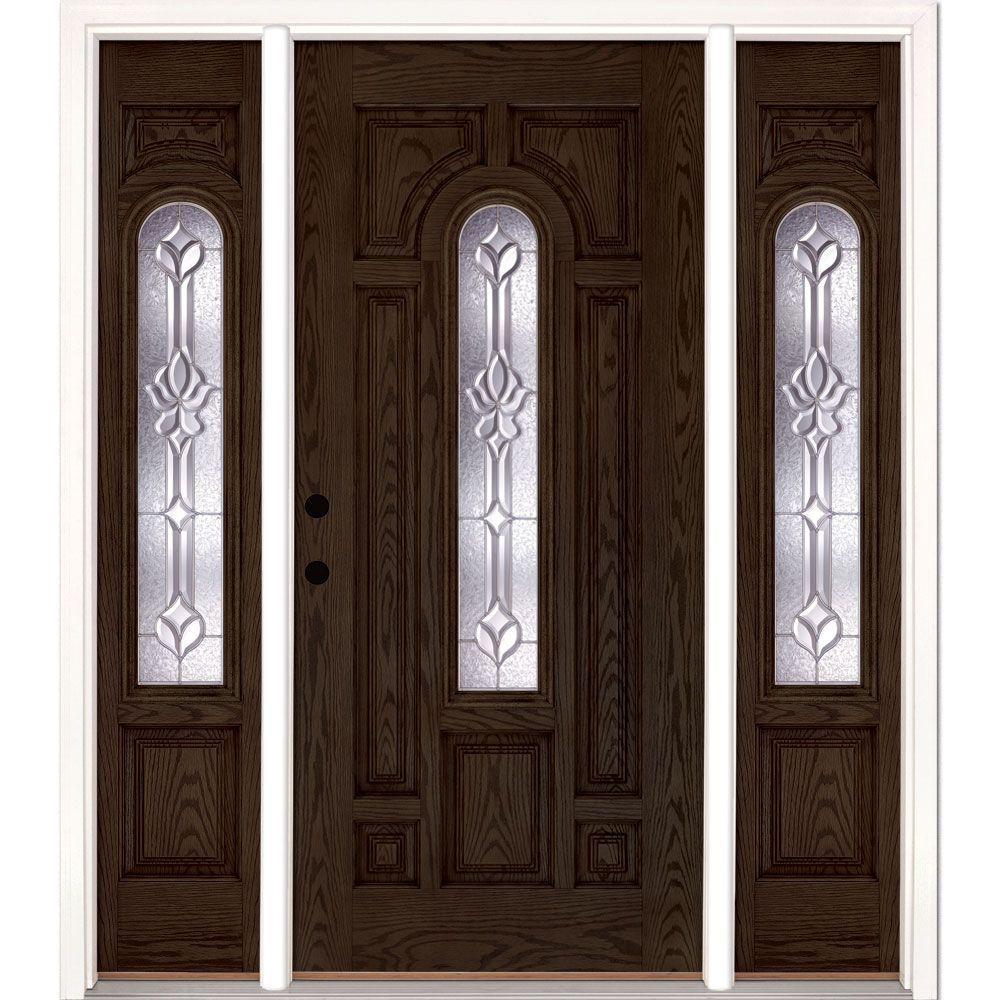 Feather river doors 63 5 in x81 625 in medina zinc center arch lt