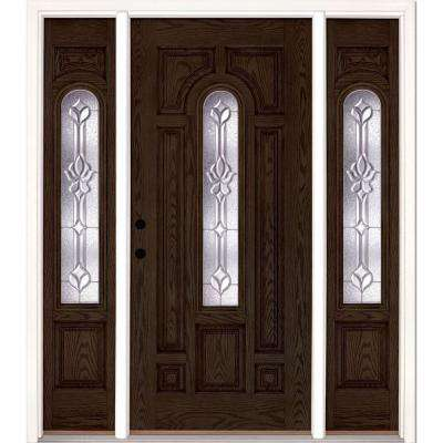 63.5 in.x81.625 in. Medina Zinc Center Arch Lt Stained Walnut Oak Right-Hand Fiberglass Prehung Front Door w/ Sidelites