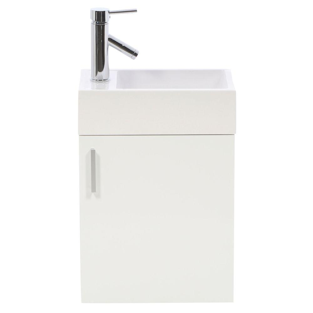 Virtu USA Carino 16 in. Single Vanity in Gloss White with Poly-Marble Vanity Top in White