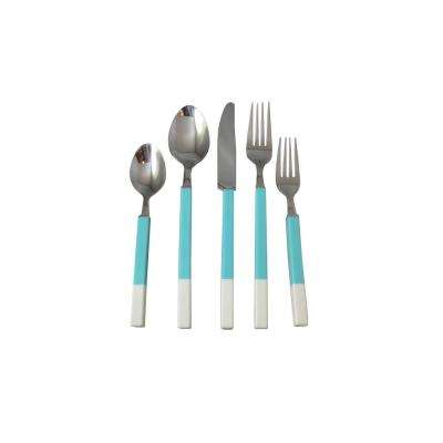 Northfield 20-Piece Teal and White Stainless Flatware Set