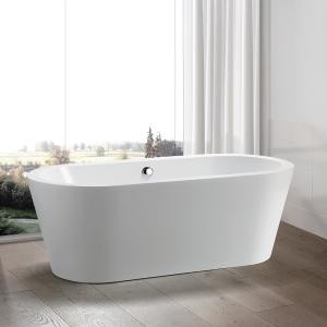 Wyndham Collection Mermaid 67 In Acrylic Flatbottom Center Drain Soaking Tub In White Wcobt100367 The Home Depot