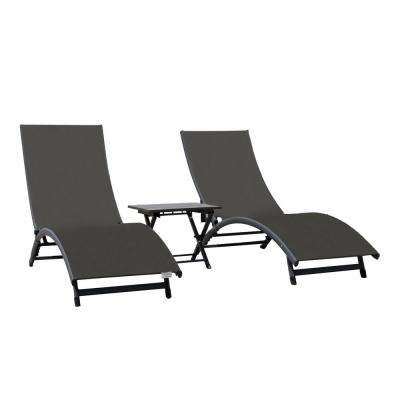 Coral Springs Grey 3-Piece Aluminum Outdoor Chaise Lounge