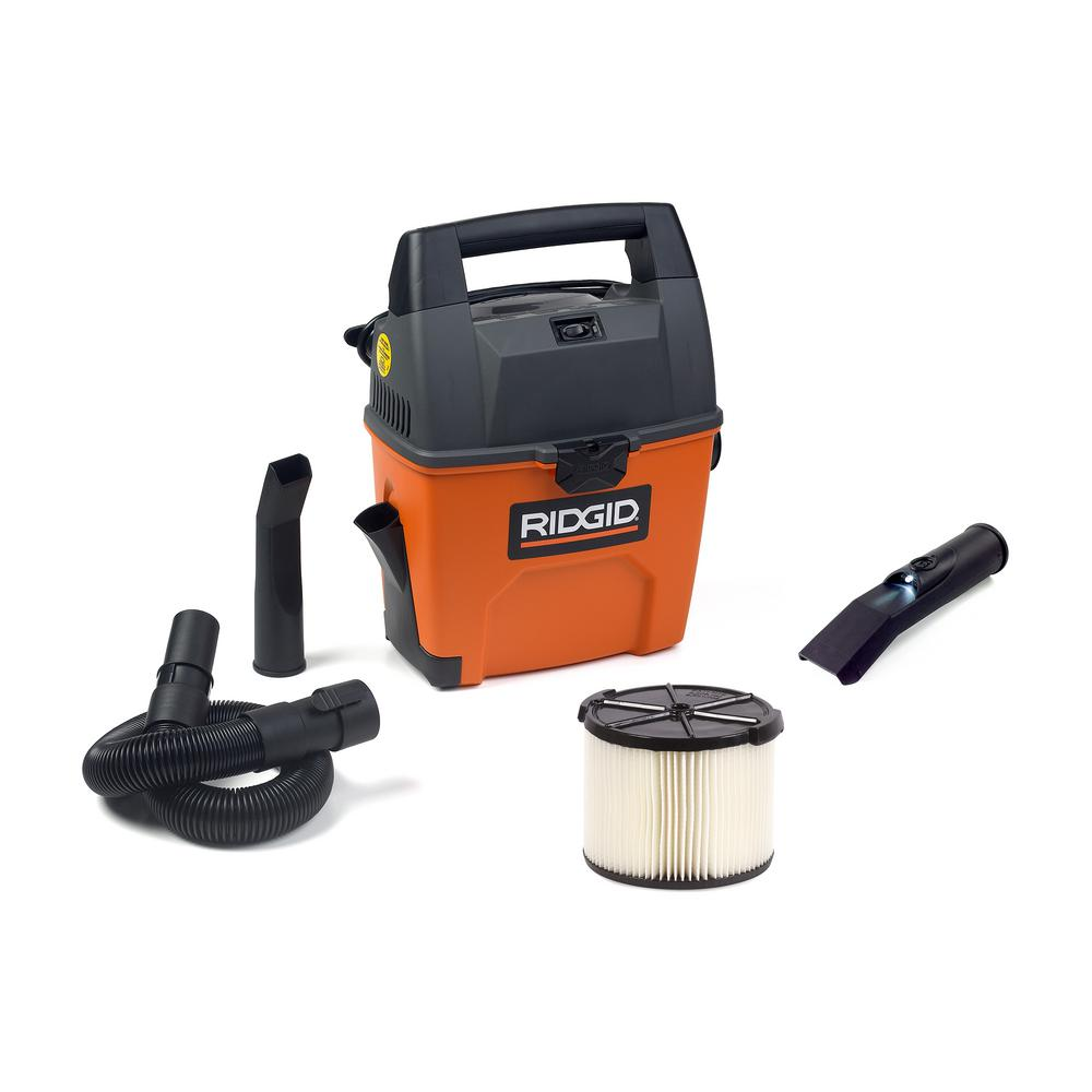 RIDGID 3 Gal. 3.5-Peak HP Portable Pro Wet Dry Vac with Bonus LED Car Nozzle