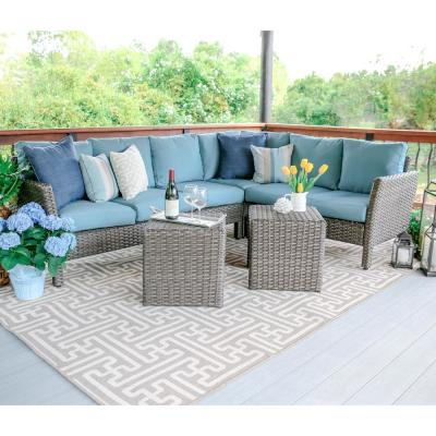 Canton 6-Piece Wicker Outdoor Sectional Set with Blue Cushions