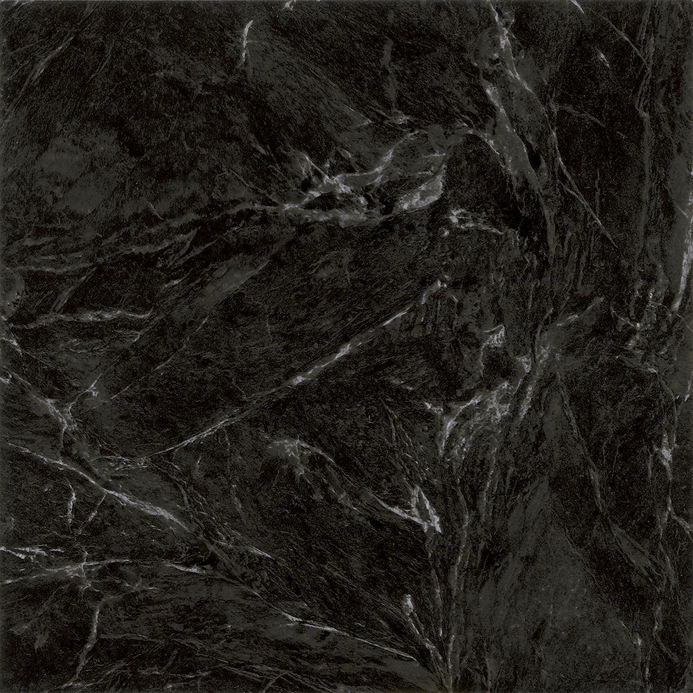 Trafficmaster Black Marble 12 In X 12 In Peel And Stick Vinyl Tile 30 Sq Ft Case